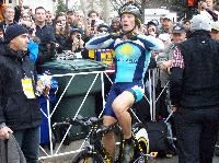 Armstrong warms up on the bike Saturday
